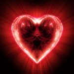 Glowing red heart in space